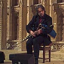 Troy playing the Uilleann Pipes at Lincoln Cathedral